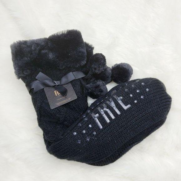 Frye NWT Fuzzy Pom Pom Cable Knit Home Sock